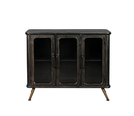 Dutchbone Cupboard Denza black brown glass iron 100x37x80cm