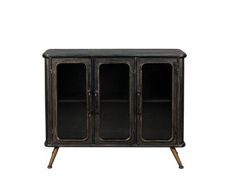 Dutchbone Schrank Denza schwarz braun Glas Eisen 100x37x80cm