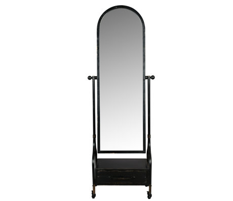 Dutchbone Spiegel Gubo zwart ijzer 65x38x184cm