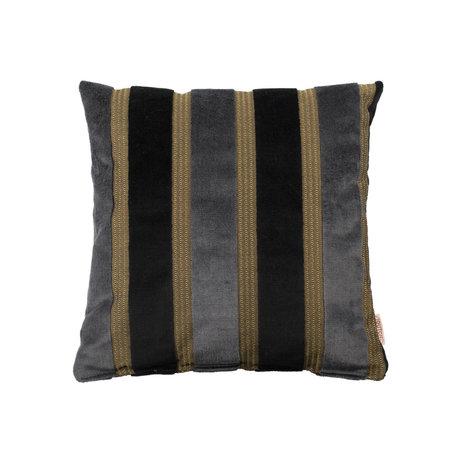 Dutchbone Sierkussen Scott zwart grijs geel 45x45cm