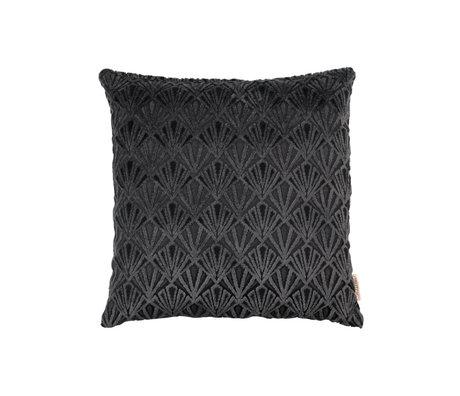 Dutchbone Coussin Daisy polyester noir 45x45cm