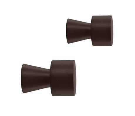 OYOY Haak Pin bruin rvs set van 2 Ø2,5x3,5cm