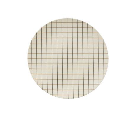 OYOY Bamboo Grid tray off-white bamboo Ø25cm