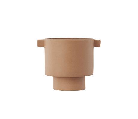 OYOY Pot Inka Kana small camelbruin keramiek Ø10,5x10,5cm