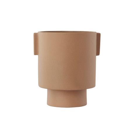 OYOY Pot Inka Kana medium camel brown ceramic Ø15x16cm