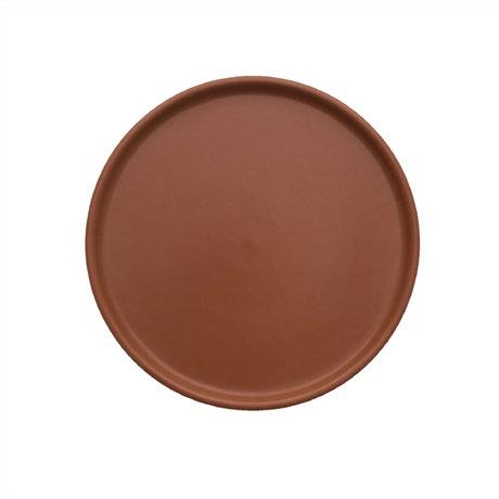 OYOY Bord Inka karamelbruin porselein set van 2 Ø16x1,2cm