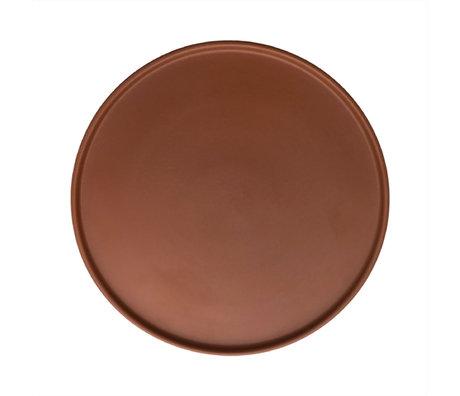 OYOY Bord Inka karamelbruin porselein set van 2 Ø26x1,2cm