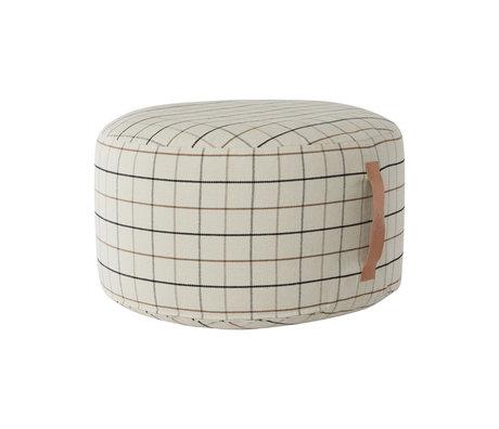 OYOY Poef Grid large gebroken wit textiel Ø65x38cm