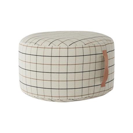 OYOY Pouf Grid großes cremefarbenes Textil Ø65x38cm