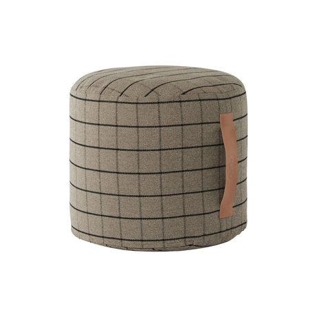 OYOY Pouf Grid graues Textil Ø40x38cm