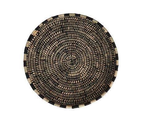 OYOY Basket Boo black natural bamboo Ø58x11cm