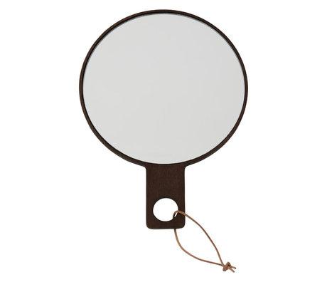 OYOY Handspiegel Ping Pong dunkelbraunes Holz 24,5x18cm