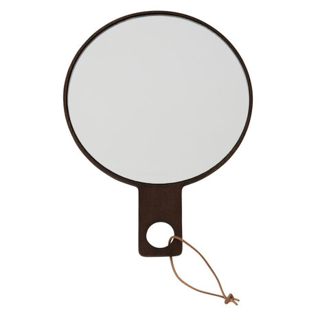 OYOY Hand mirror Ping Pong dark brown wood 24.5x18cm
