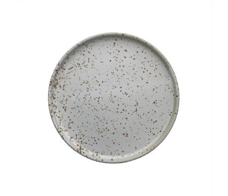 OYOY Assiette Inka blanc porcelaine marron clair set de 2 Ø16x1.2cm