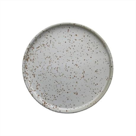 OYOY Bord Inka wit lichtbruin porselein set van 2 Ø16x1,2cm