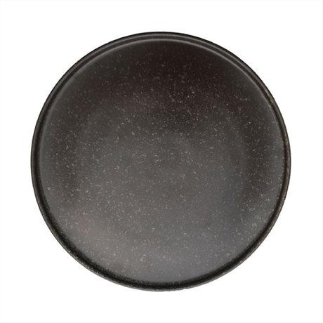 OYOY Bord Inka donkerbruin porselein set van 2 Ø26x1,2cm