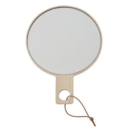 OYOY Handspiegel Ping Pong naturel hout 24,5x18cm