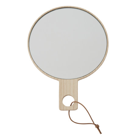 OYOY Miroir à main Ping Pong en bois naturel 24,5x18cm