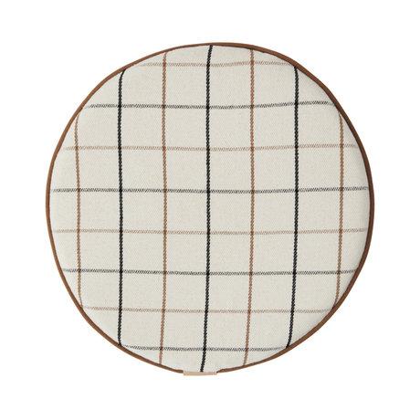 OYOY Cushion Grid off-white textile Ø38x2.5cm