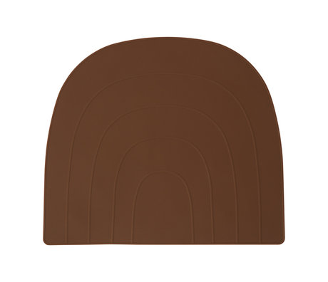 OYOY Placemat Rainbow caramel brown silicone 34x41cm