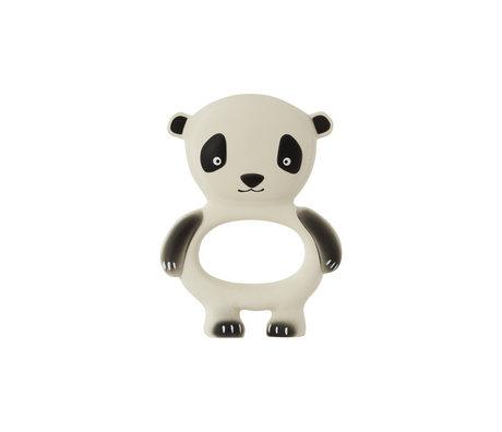 OYOY Jouet morsure Panda blanc cassé noir caoutchouc naturel 13x9.5cm