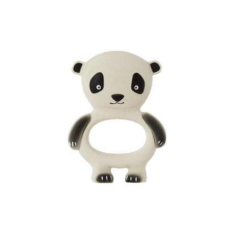 OYOY Biss Spielzeug Panda cremefarbener schwarzer Naturkautschuk 13x9,5 cm