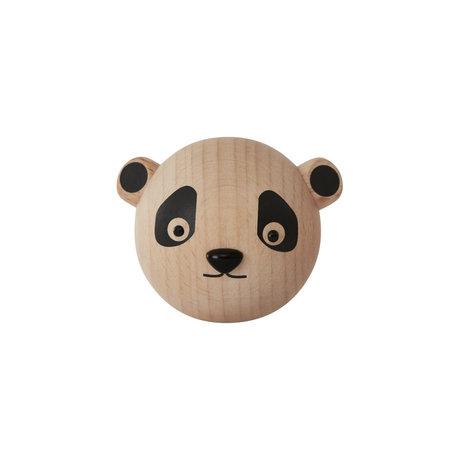 OYOY Haak Panda naturel hout 5,5x5,5x4,5cm
