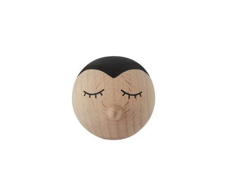 OYOY Crochet penguin natural wood 4.5x6.5x4.5 cm