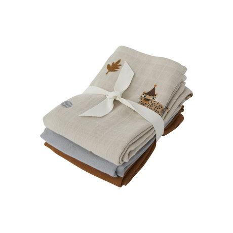 OYOY Hydrophile Tücher Leopard mehrfarbiges Textilset von 3 70x70cm