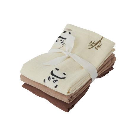 OYOY Hydrofiele doekjes Panda multicolour textiel set van 3 70x70cm