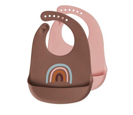 OYOY Bib Rainbow brown pink silicone set of 2 31x23cm