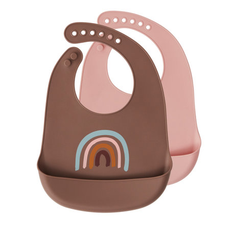 OYOY Bavoir Rainbow marron rose silicone set de 2 31x23cm