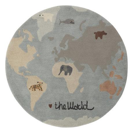 OYOY Teppich The World mehrfarbiges Textil Ø120cm