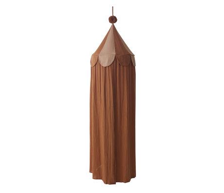 OYOY Mosquito net Ronja caramel brown textile Ø60x240cm