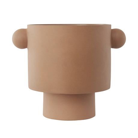 OYOY Pot Inka Kana grand camel marron céramique Ø30x23cm