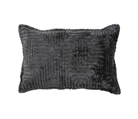 LEF collections Oreiller décoratif Ezra textile noir 40x60cm