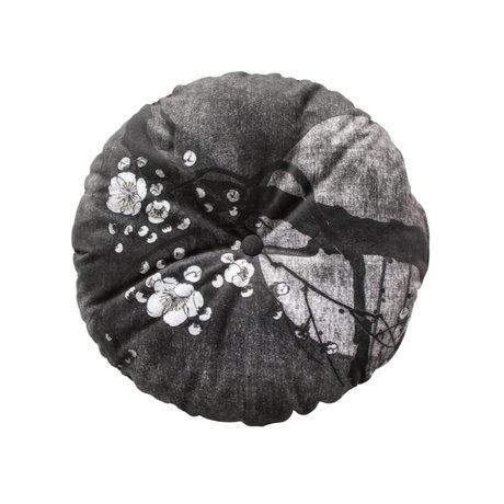 BePureHome Coussin Night Blossom polyester noir et blanc Ø45