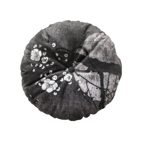 BePureHome Kissen Nachtblüte schwarz und weiß Polyester Ø45