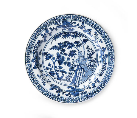HK-living Plate Kyoto blue white ceramic Ø25x3cm