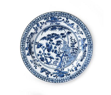 HK-living Platte Kyoto blau weiß Keramik Ø25x3cm