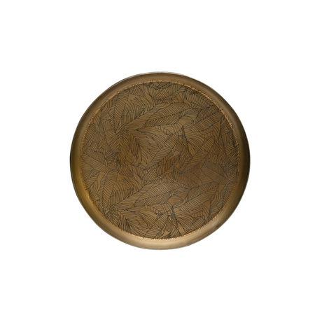 BePureHome Dienblad Notch antiek brass goud ijzer Ø31x6cm