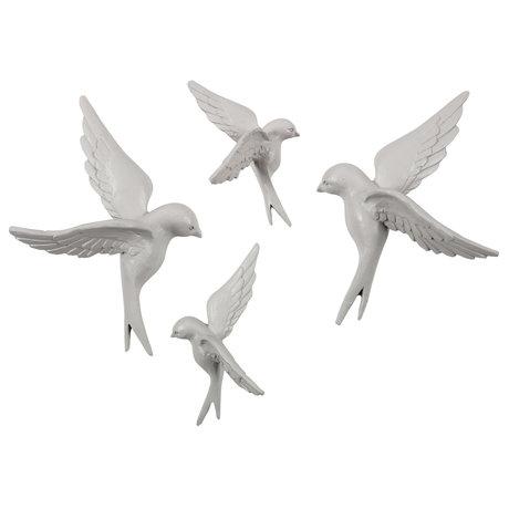 BePureHome Deco-object Avaler set van 4 gebroken wit steen papier