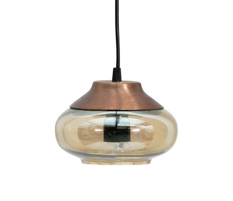 BePureHome Hanglamp Sultry bruin glas ijzer Ø17x13cm