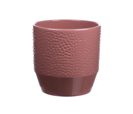 wonenmetlef Cache-pot Pisa Dots vieux rose céramique Ø14x13cm