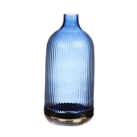 wonenmetlef Bouteille en verre bleu Cloyes Ø9x19.5cm
