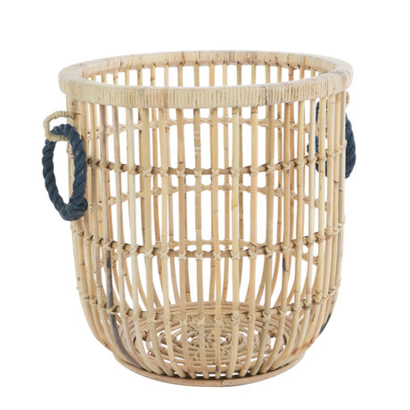 wonenmetlef Storage basket Penitas brown blue rattan Ø46x48cm