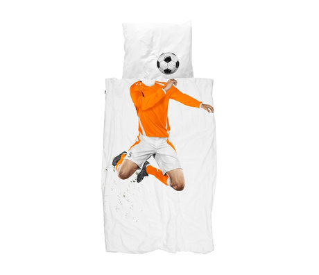 Snurk Beddengoed Housse de couette soccer Champ Orange 140x200 / 220 cm avec taie d'oreiller 60x70cm
