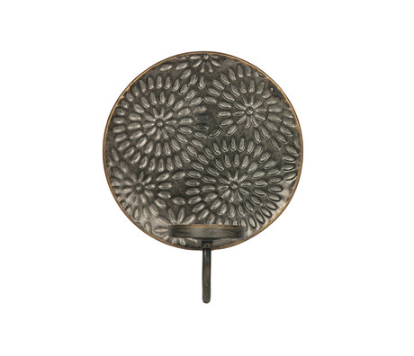 BePureHome Kerzenhalter Blendung Blume schwarz Metall 20x11x25cm