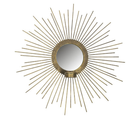 BePureHome Miroir avec photophore Sunny métal doré Ø45cm