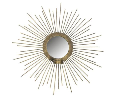 BePureHome Spiegel met waxinelichthouder Sunny goud metaal Ø45cm